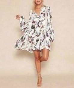 Weißes Kleid Hippie lange Ärmel