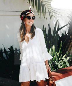 Weißes kurzes Kleid im Hippie Stil
