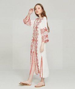 Günstiges weißes böhmisches schickes Kleid